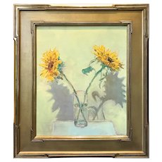 Stephen Motyka Still Life Oil Painting, Sunflowers