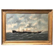 "Edward (Edouard) Adam Ship Oil Painting, American Steamer ""Antinous"" 1920"