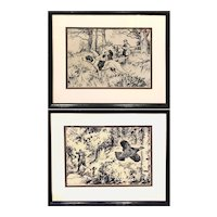 Pair of Phillip Brown Parsons Pen, Ink, & Gouache Sporting Drawings
