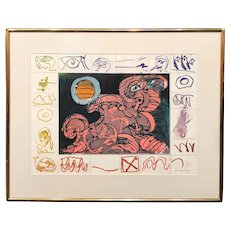 Pierre Alechinsky Limited Edition Modern Expressionist  Lithograph 41/65