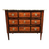 European Three-Drawer Marble Top Chest with Veneered Panels, circa 1790