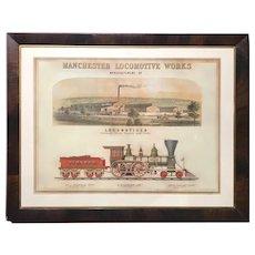 Manchester Locomotive Works Railroad Chromolithograph by J.H. Bufford Boston circa 1850's