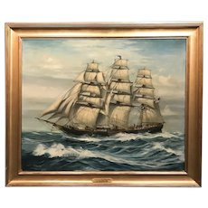 J. Spurling American School Oil Painting of Clipper Ship Formosa, Salem MA