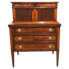 Federal Style Two Part Mahogany Tambour Desk with Brass & Porcelain Hardware