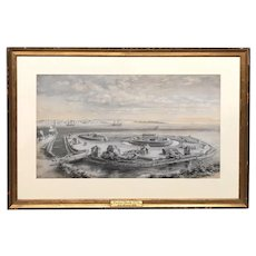 Edward Lamson Henry Watercolor Gouache Painting, Paulus Hook NJ circa 1776