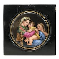 After Raphael, 19th c German Porcelain Painted Plaque, Madonna della Seggiola