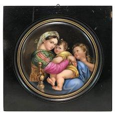 After Raphael, 19th c German Porcelain Painted Plaque, Madonna della Seggiola