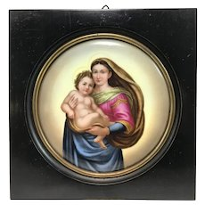 Late 19th c German Porcelain Plaque of Madonna & Child signed Wagner