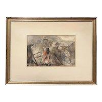 Vincent Capraro Impressionist Mixed Media Figural Painting