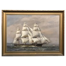 Marine Oil Painting Ship Portrait of Clipper Ship Flying Cloud Signed T. Bailey