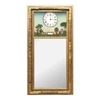 Sheraton Gilt Split Column Mirror with Eglomise and Masonic Decoration