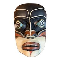 Pacific Northwest Coast Native American Polychrome Mask signed by Oscar Matilpi