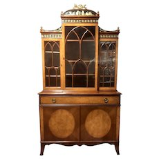 Diminutive Adam Style Breakfront Bookcase or China Cabinet by F&G Furniture Co