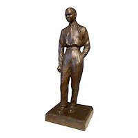 Mid 20th Century Cast Bronze Sculpture of a Gentleman or Businessman