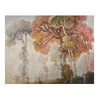 William C. Emerson Tonalist Landscape with Colorful Trees and Figures
