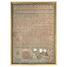 Rebecca Jane Gove, Dover NH, Hand Wrought Needlework Sampler circa 1830