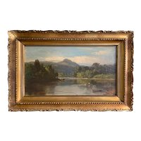 Samuel Lancaster Gerry White Mountain School Landscape Oil Painting with Boats & Cows