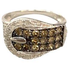 10K Gold Buckle Style Diamond Ladies Ring with Chocolate Diamonds