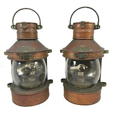 Pair of Vintage Tung Woo Masthead Ship's Navigation Copper Lanterns