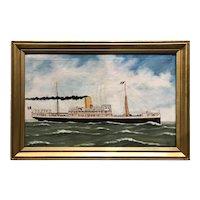 Alfred J. Jansen Marine Oil Painting Ship Portrait , Congo Steamer Albertville 1907