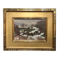 Bernard Corey Winter Landscape Oil Painting, Snow Rocks