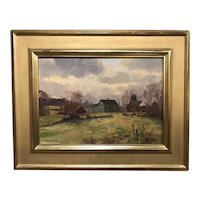 Bernard Corey Landscape Oil Painting, New England Farm Setting circa 1950