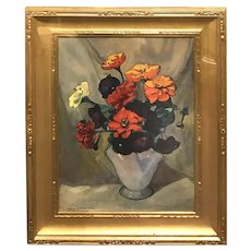 Jane Peterson Watercolor Still Life, Zinnias and Petunias