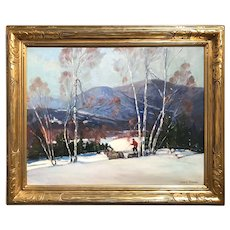 James King Bonnar Landscape Winter Logging in the White Mountains