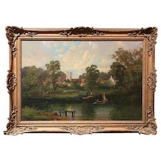 19th c English Townscape Oil Painting with Boats on the River Signed Allen