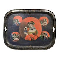 China Trade Hand Painted Metal Tray with Female Figures circa 1820