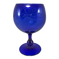 Cobalt Footed Glass Vase with Etched Grape Decoration