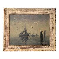Giragos Der Garabedian Marine Oil Painting of Gulls & Boats