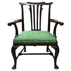 Mahogany Georgian Armchair with Scrolled Crest and Arms, circa 1750
