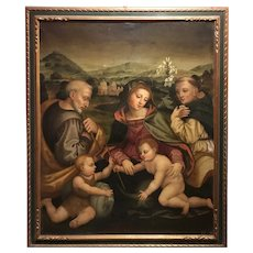 18th c Venetian School Old Master Oil Painting with Madonna & Child