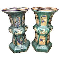 Pair of 19th Century Chinese Ceramic Reticulated Garden Pedestals or Stands