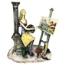 """Adriano Colombo Lo Scricciolo Italian Ceramic Sculpture """"The Artist"""""""