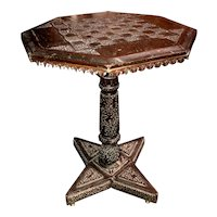 Anglo-Indian Octagonal Carved Game Table circa 1850