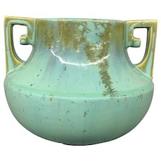 Fulper Art Pottery Signed Handled Green Drip Glaze Vase