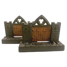Rare Pair of Cast Iron Mission or Church Gate Bookends from Judd Foundry, Wallingford CT