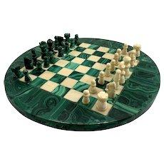 Fine Malachite & Marble Chess Set with Round Board