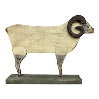 Vintage Polychrome Folk Art Carved Wooden Ram