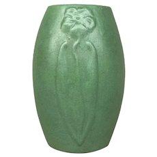 Zanesville Pottery Stylized Flower Vase in Matte Green Finish