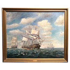 Adolph J. Frederick Marine Oil Painting of Sailing Ships, Cutting In