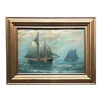 James J. McAuliffe Marine Oil Painting of Two Schooners, One Homeward Bound