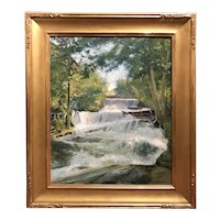 Charles Henry Richert Landscape Oil Painting, The Waterfall 1907
