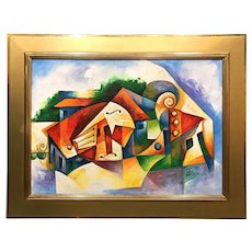 Jose Salazar Vazquez Colorful Cuban Musical Theme Abstract Oil Painting