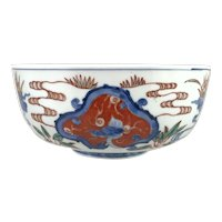 19th / 20th c Polychrome Japanese Imari Bowl with Dragon Cartouches
