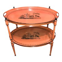 Directoire Style Oval Folding Metal Double Tray Table with Classical Scene Painted Decoration
