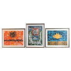 Jimmy Ernst Set of Three Framed Abstract Expressionist Color Lithographs circa 1972