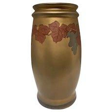 Rare Swastika Keramos Art Pottery Vase with Copper Metallic Glaze